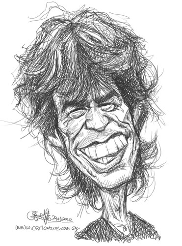 digital sketch study of Mick Jagger - 2