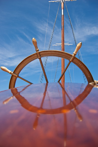 Bluenose II wheel and mast.