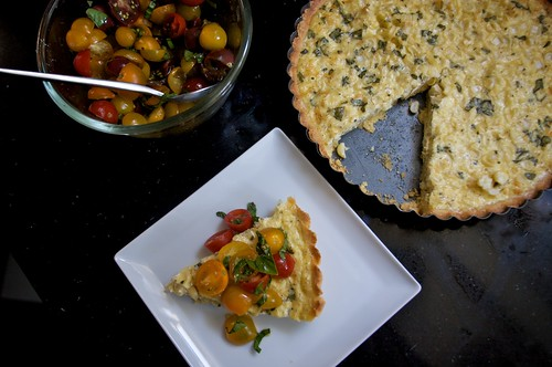 corn basil tart with tomatoes & basil topping