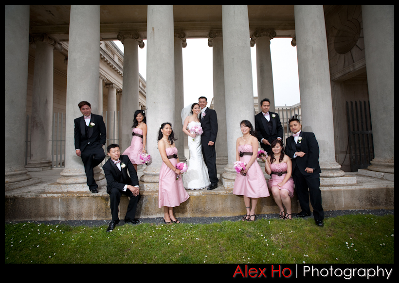 legion of honor bridal party wedding shots san francisco