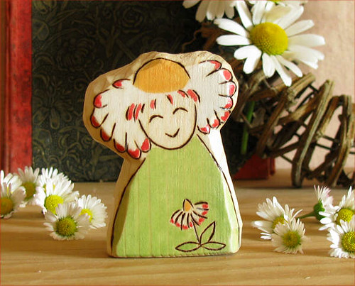 BLITHE DAISY FAIRY - natural carved wooden toy, summer inspired