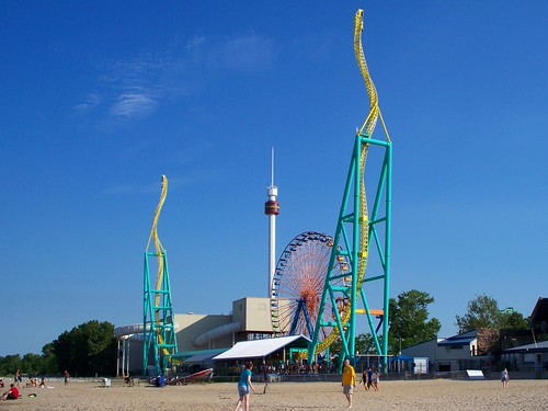Cedar Point - Wicked Twister, Giant Wheel, and Space Spiral from the Beach