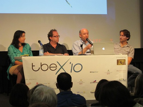 Travel writing panel (from left): Alison Stein Wellner (freelance writer), David Farley (author), Don George (Lonely Planet), and Jim Benning (World Hum/Travel Channel)