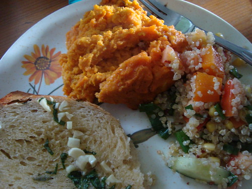sunday night supper club 1: garlic toast, carrot souffle, and quinoa salad