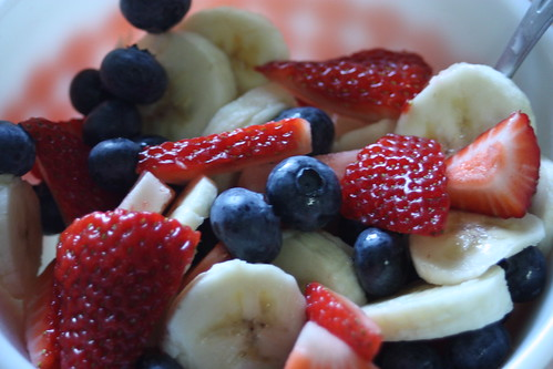 red, white, blue fruit salad