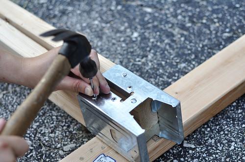 Our sawhorse table progress