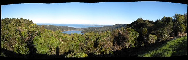 Lower Nihotupu Dam & Manukau Harbour from the Waitakere Ranges