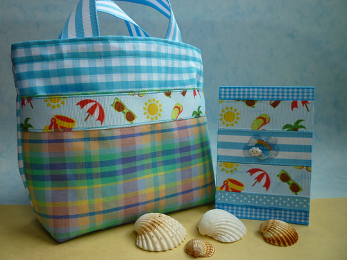 mini beach bag and ribbon notebook