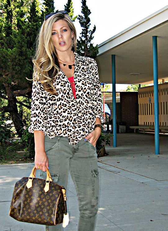 house of harlow necklace+j brand skinny cargos+leopard print top+louis vuitton bag+