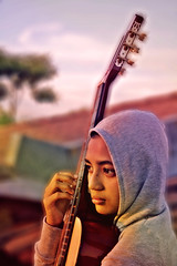 searching for inspiration (emadivine) Tags: portrait girl lady female women colorful emotion guitar profile colourful hue