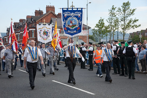 Orangemen Parade Marches Through Demonstration