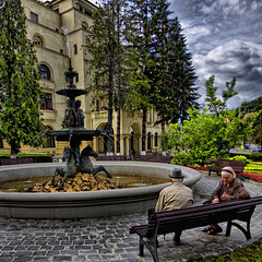 "The Fountain (George Nutulescu) Tags: brasov romania fountain rest bench nikond40 vertorama hdr old older people flickraward aplusphoto paragon magicunicornverybest pyramid artdigital sailsevenseas searchthebest malinconiamelancholy gpc qualitysurroundings magicalmoments ""creative outbursts"" ourtime objectiveart redmatrix vob"" dragondaggeraward vob"