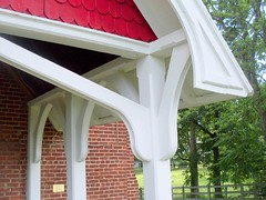 Entry Porch, St. John's Episcopal Church--Detail (Universal Pops (David)) Tags: red detail building church architecture religious arch structure westvirginia porch posts brackets entry episcopal rippon gothicrevival shingling fishscale jeffersoncounty