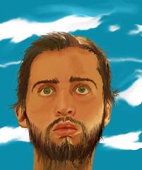 Sometimes (SP) (danielliev) Tags: sky face clouds photoshop beard greeneyes digitalpainting ojosverdes cielo nubes wacom barba oilpainting pelo cabello epiphany manface pinturadigital epifanía portraitselfportrait