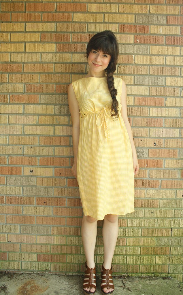 1950's yellow gingham sun dress