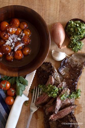 Hangar Steak with Homeade Chimi and Pinot Braised Cherry Tomatoes