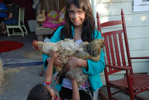 Madeline is the chicken whisperer. Seriously.