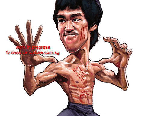 digital caricature of Bruce Lee - 4 small