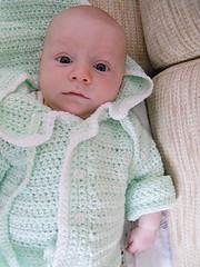 Modeling Grandma Lee's sweater