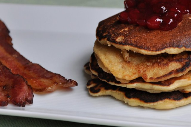 Oatmeal Pancakes with Lingonberry Jam
