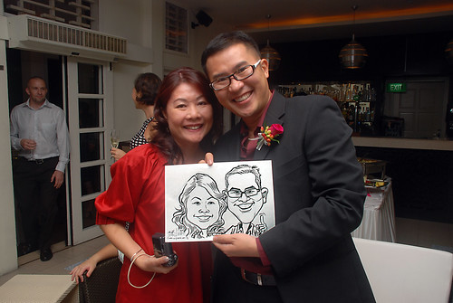 caricature live sketching for David & Christine wedding dinner - 17
