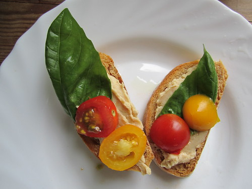 Tomato Bread with Hummus, Basil and Cherry Tomatoes