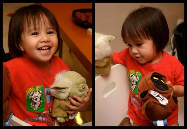 Jolie with Yoda and Jawa