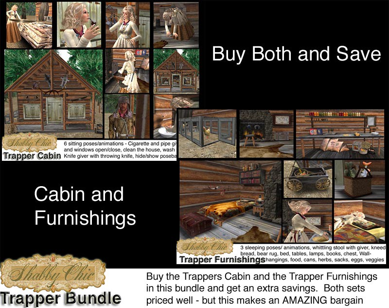 Shabby Chic Trapper Bundle - Includes Trapper Cabin and Trapper Furnishings.