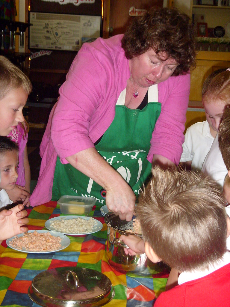 Cooking with Copperworks Nursery School children