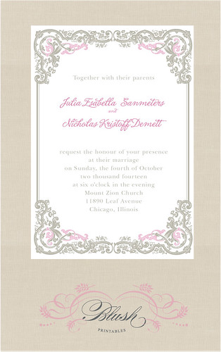The entire ensemble includes a printable wedding invitation 5x7 response