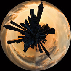 Atlanta Skyline Planet (Greg Foster Photography) Tags: city atlanta sunset sky urban panorama building silhouette skyline architecture clouds skyscraper buildings georgia downtown skyscrapers silhouettes orb 360 fisheye round planet planets polar orbs circular planetoid planetoids wonderroot