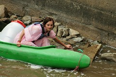 Canooing princess (Svedek) Tags: pink portrait woman green girl river documentary canoe vltava eskkrumlov