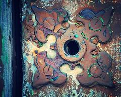 detail of cemetery door ~ Jones Avenue Cemetery (Sally E J Hunter) Tags: toronto jones hardware moo1 goeltzedeccemetery jonesavenuecemetery
