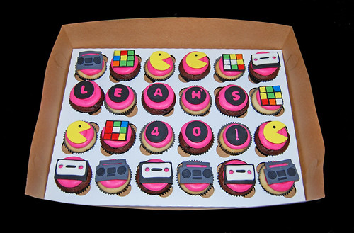 80s themed 40th birthday cupcakes, pacman, boom box, casette, rubix cube