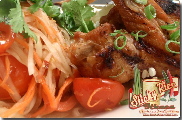 Khoawniew Somtum with Gai Yarng (chicken ) or Moo Yarng (pork chop) (click on link below for pricing) by Sticky Rice Online