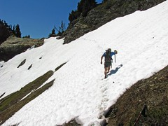 Crossing the final steep snowfield