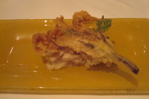 Tempura of zucchini on salted cod puree