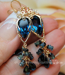 Deep Waters (BobbiWired ~ MyWiredImagination) Tags: crystals jewelry rings earrings jewels gems wirework wirewrapping crystalearrings bobbiwired knotrings