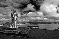 Sir William Hillary overlooking Douglas bay Isle of Man. (IMAGES FROM MAN.) Tags: summer sky bw water clouds landscape coast nikon dramatic atmosphere monotone douglas drama cloudscape isleofman manx cloudscapes polariser sirwilliamhillary