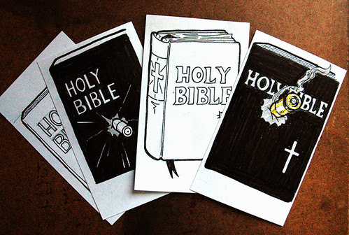 """Bullet in a Bible"" sketches"