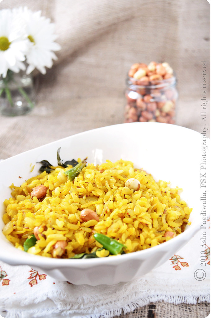 Poha in a bowl close