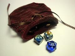 Dice Bag in brown hand knit drawstring closure (karendawn-knitting) Tags: knitting knit etsy knitted karendawn karendawnknits