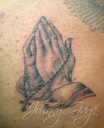 horror half sleeve tattoo · praying hands with rosary beads tattoo