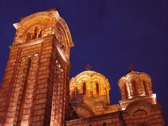Crkva Sv. Marka (sovica_xxx) Tags: light summer church architecture night warm serbia towers nightsky belgrade orthodox placeofworship tamajdan byzantinetradition