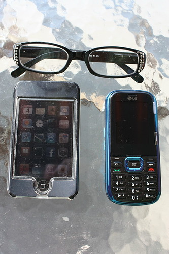 Ipad, phone and reading glasses