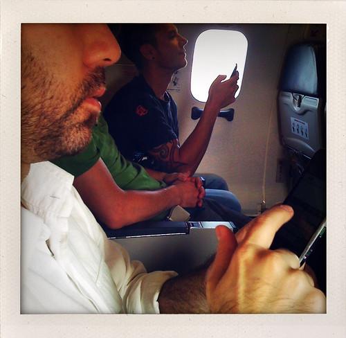 Aidan on the plane