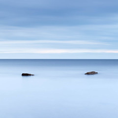 Two Rocks (dougchinnery.com) Tags: blue sea sunrise grey dawn bay coast seaside rocks yorkshire overcast minimal east minimalism minimalist nab saltwick