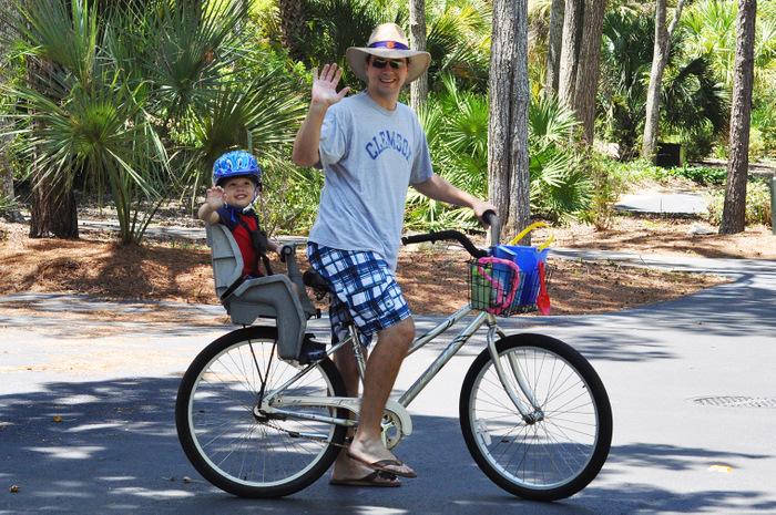 daddy and benson on the bike