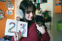 23, ear warmer and Spock! (Honey Pie!) Tags: birthday dog notebook yorkshire spock 23 aniversrio caderno 23yearsold earwarmer melinadesouza
