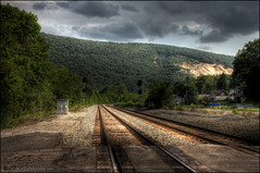 Double tracks in HDR (Western Maryland Photography) Tags: road rock md cut tracks mount intersection rd savage corriganville